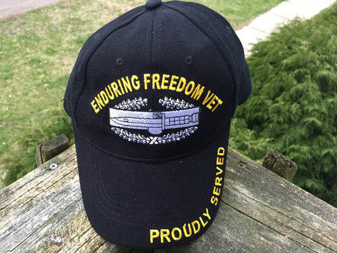 United States Military Enduring Freedom Cap Hat US 100% Cotton Black
