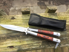 Heavy Duty Butterfly Knife Red Wood Scales with Clip