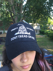 "Military Cap Hat Cover ""Don't Tread On Me! ""  Liberty or Death!  Black"