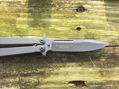 Butterfly Knife with Solid Handle - Mirror Finish