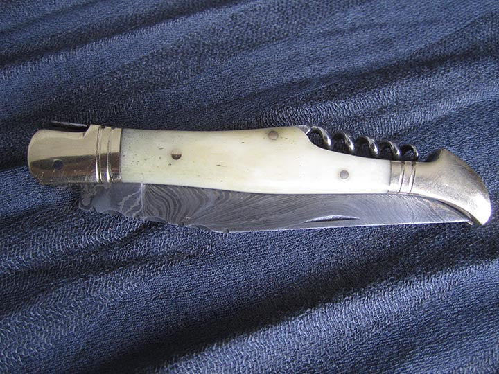 Custom Damascus Knife white camel bone with corkscrew