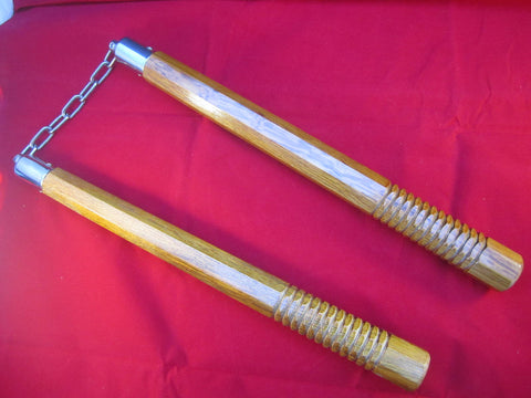 "Real Wood 14"" Octagon Nunchucks W/ Chain and Ball Bearing"