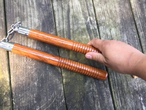 "Real Wood 12"" Round Nunchucks W/ Chain and Ball Bearing"