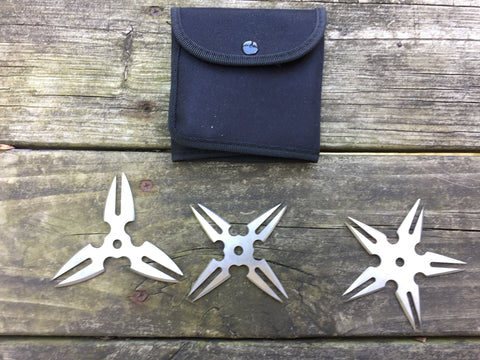 "3 Piece Throwing Star Set Silver ""Spinning Double Strike"""