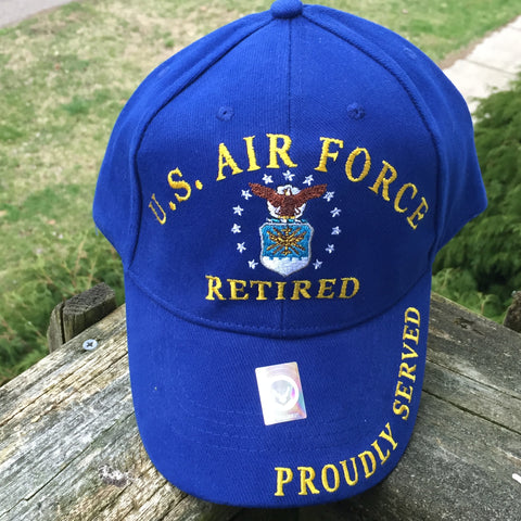 United States Air Force Retired Cap Hat US 100% Cotton Blue