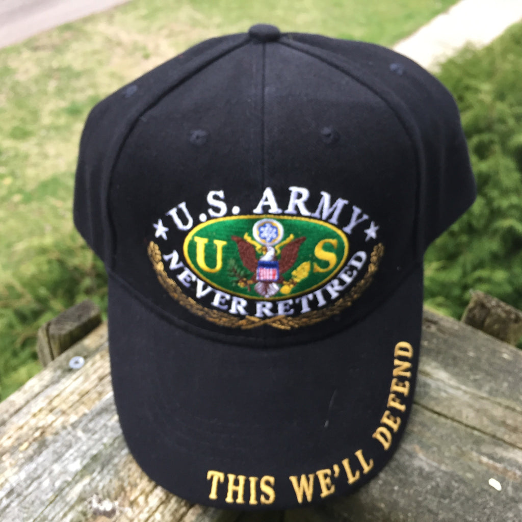 United States Army Never Retired Cap Hat US 100% Cotton Black