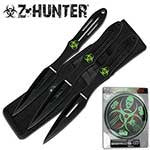 Zombie Hunter Knife Throwing Set with Target Board (3-Piece Knife), 9-Inch