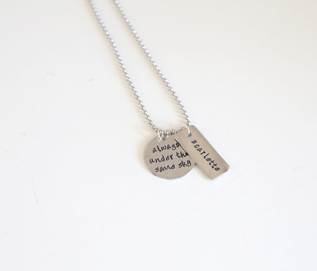 Always Under the Same Sky Necklace with Personalized Name Bar