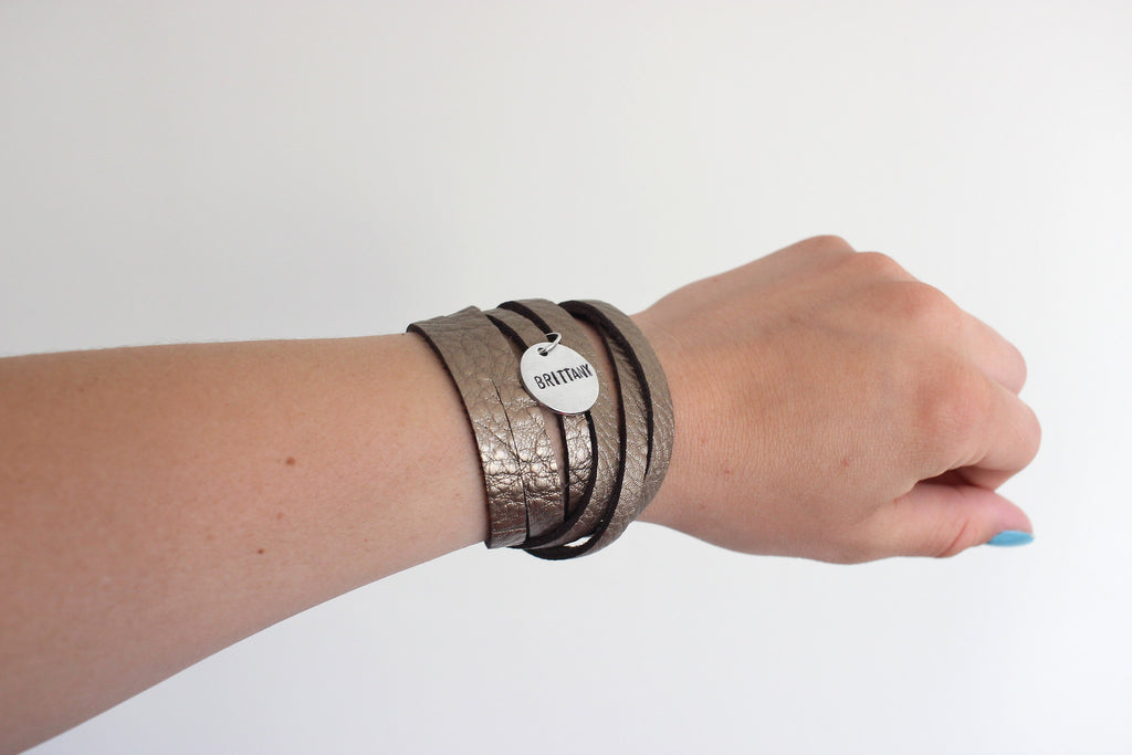 Sliced Leather Wrap Bracelet