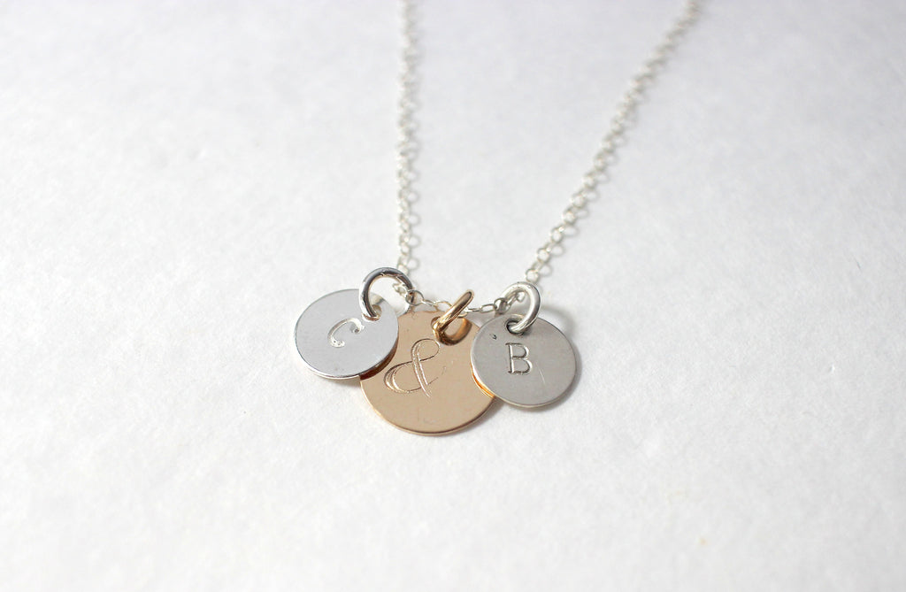 Couples Ampersand Necklace, silver chain