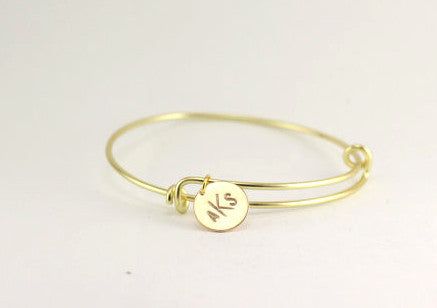 Gold Monogram Bangle Bracelet