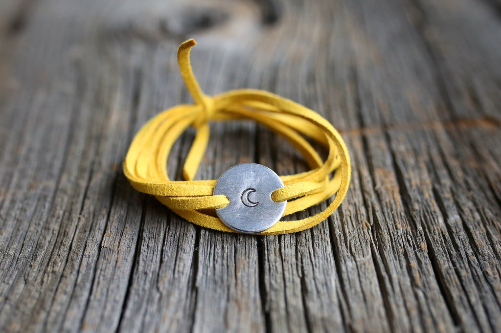 moon wrap bracelet, planet jewelry, moon child, moon phase, travel gift, wanderlust bracelet, crescent moon bracelet, crescent moon jewelry