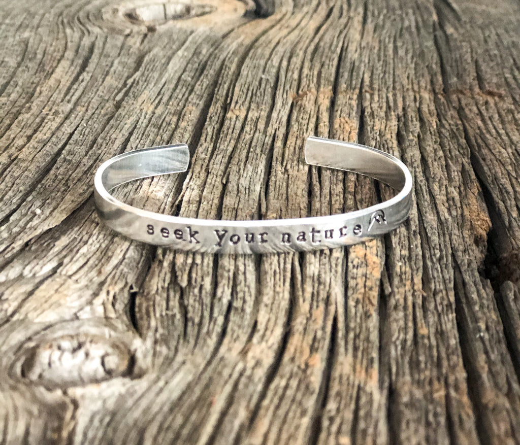 Seek Your Nature bracelet,  mountain jewelry, hiking gift, nature gift, adventurer, nature lover, gift for traveler, October acres