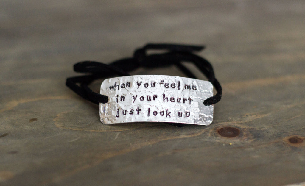 When You Feel Me In Your Heart Just Look Up, Memorial Wrap Bracelet