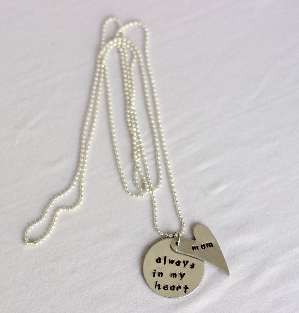 Personalized Memorial Necklace, always in my heart