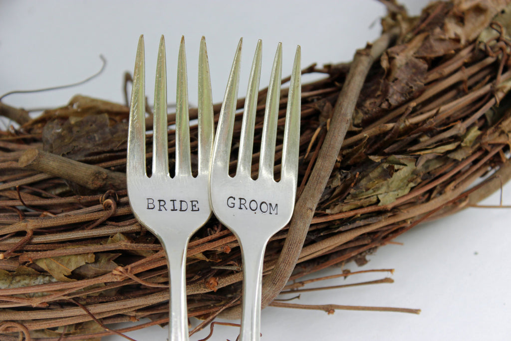 Bride & Groom Wedding Fork Set