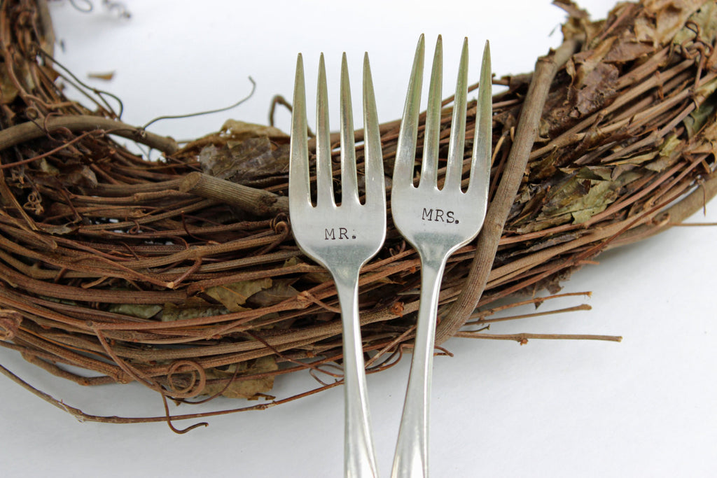 Mr &Mrs Stamped Wedding Forks
