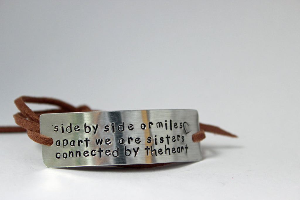 Sister Wrap Bracelet, Side by Side or Miles Apart We Are Sisters Connected By The Heart