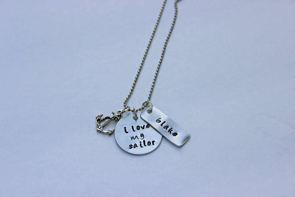 Personalized I Love My Sailor Necklace