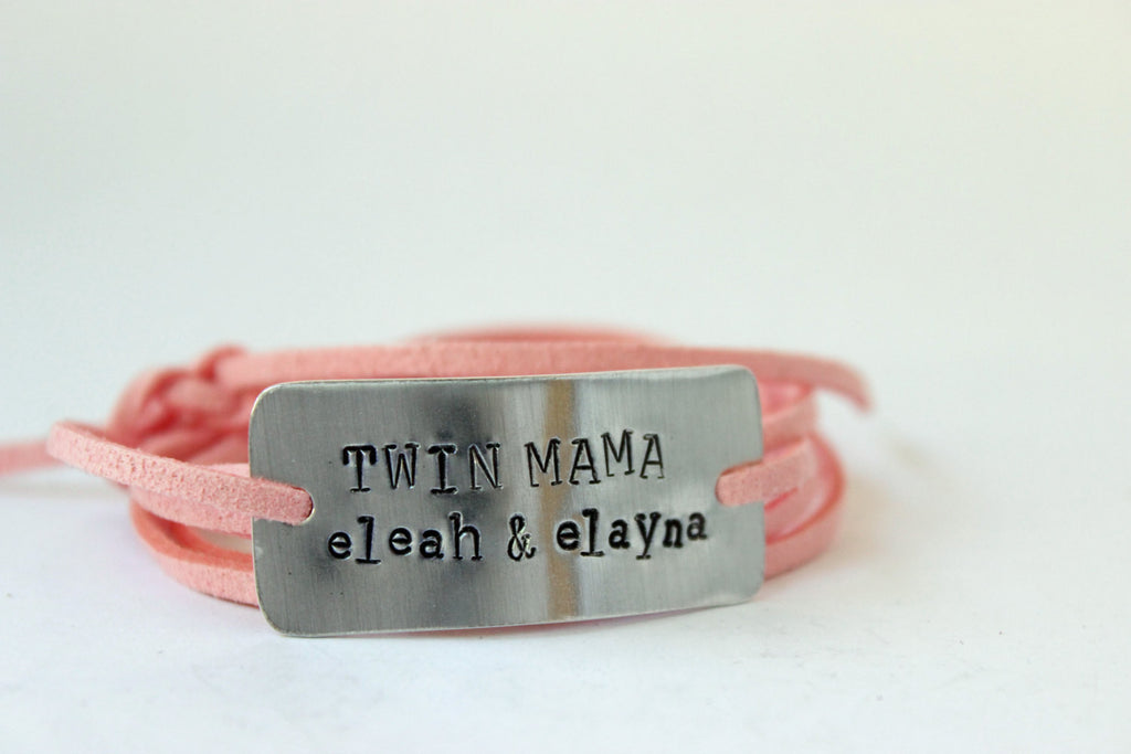 Personalized Twin Mama Wrap Bracelet