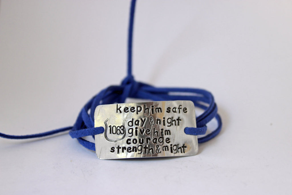 Keep Him Safe Day & Night, Police Wife Wrap Bracelet