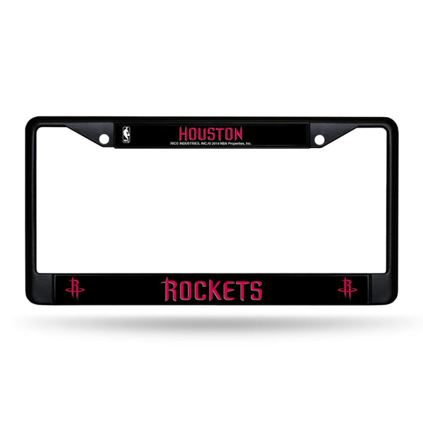 Rockets Black Chrome License Plate Frame