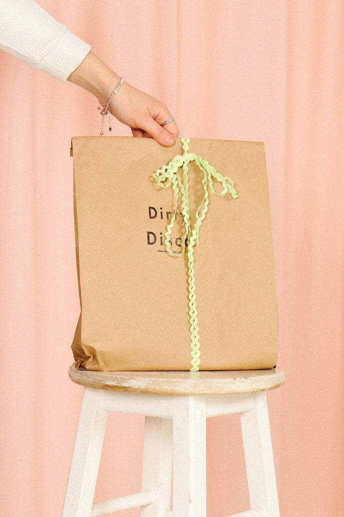 dirty disco vintage mail bag as gift bag