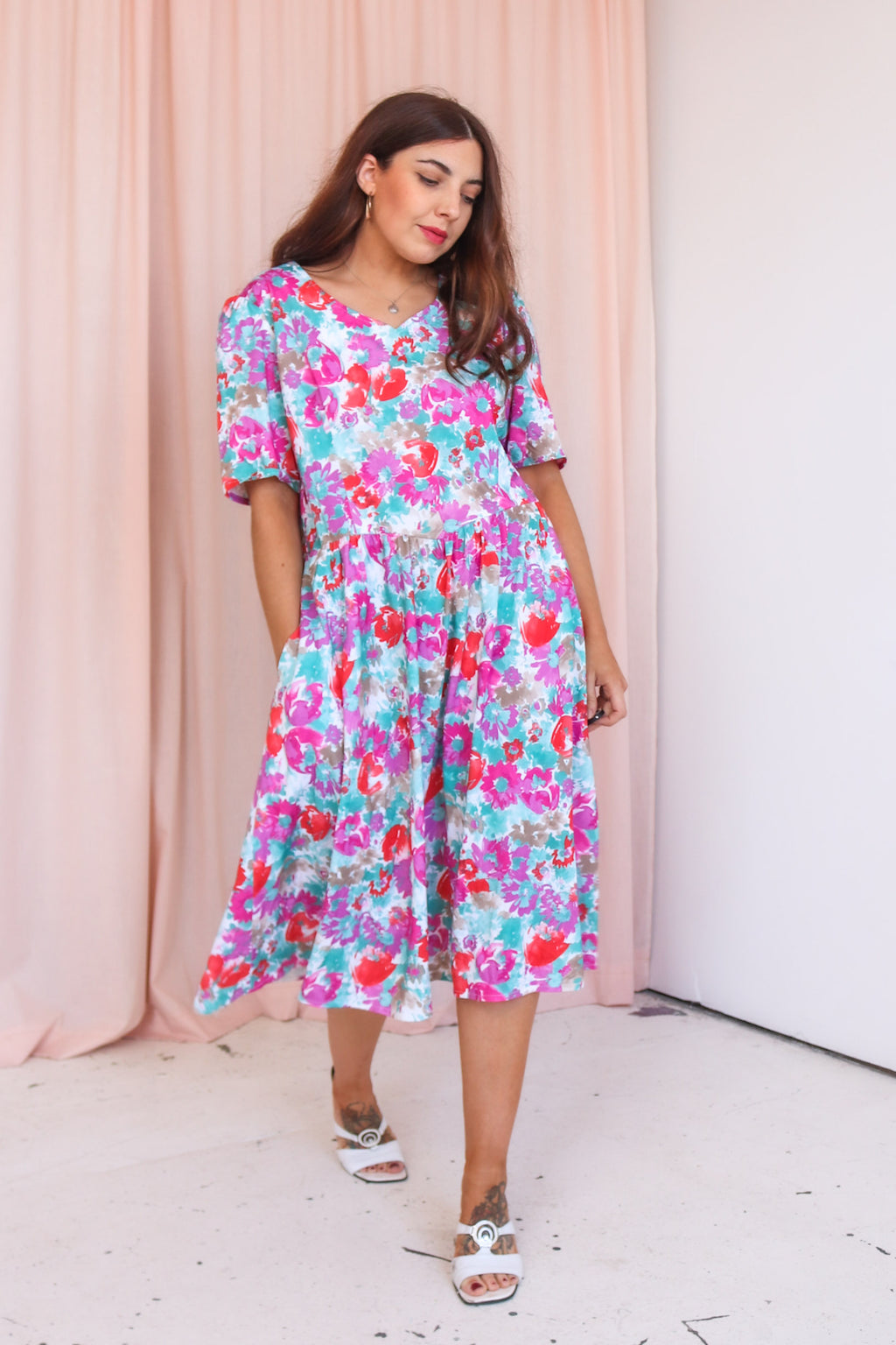 VintageMidi Dress in Pink Floral Print - Dirty Disco