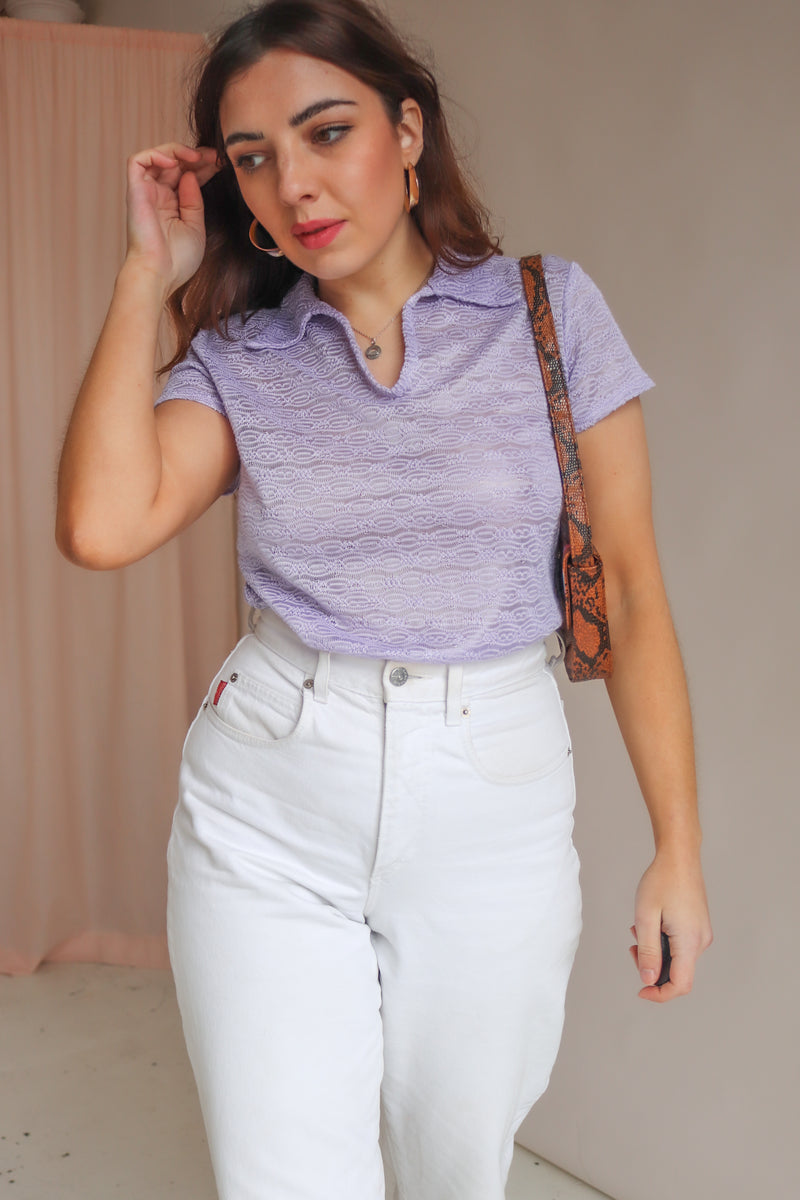 Collared Top in Lilac - M