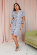 VintageMidi Dress in Grey Rose Print - Dirty Disco