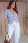Short Sleeve Cardigan in Lilac - M