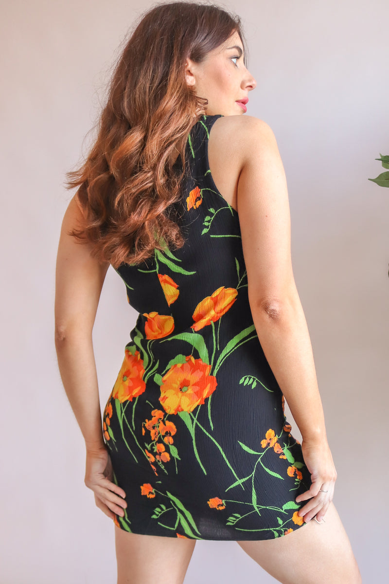 Mini Dress in Orange Floral Print - UK 10