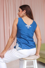 VintageEmbroidered Silk Cami in Blue - Dirty Disco