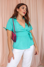 VintageSilk Blouse in Turquoise - Dirty Disco