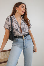 VintageShort Sleeve Blouse in Silver Sunflower Print - Dirty Disco
