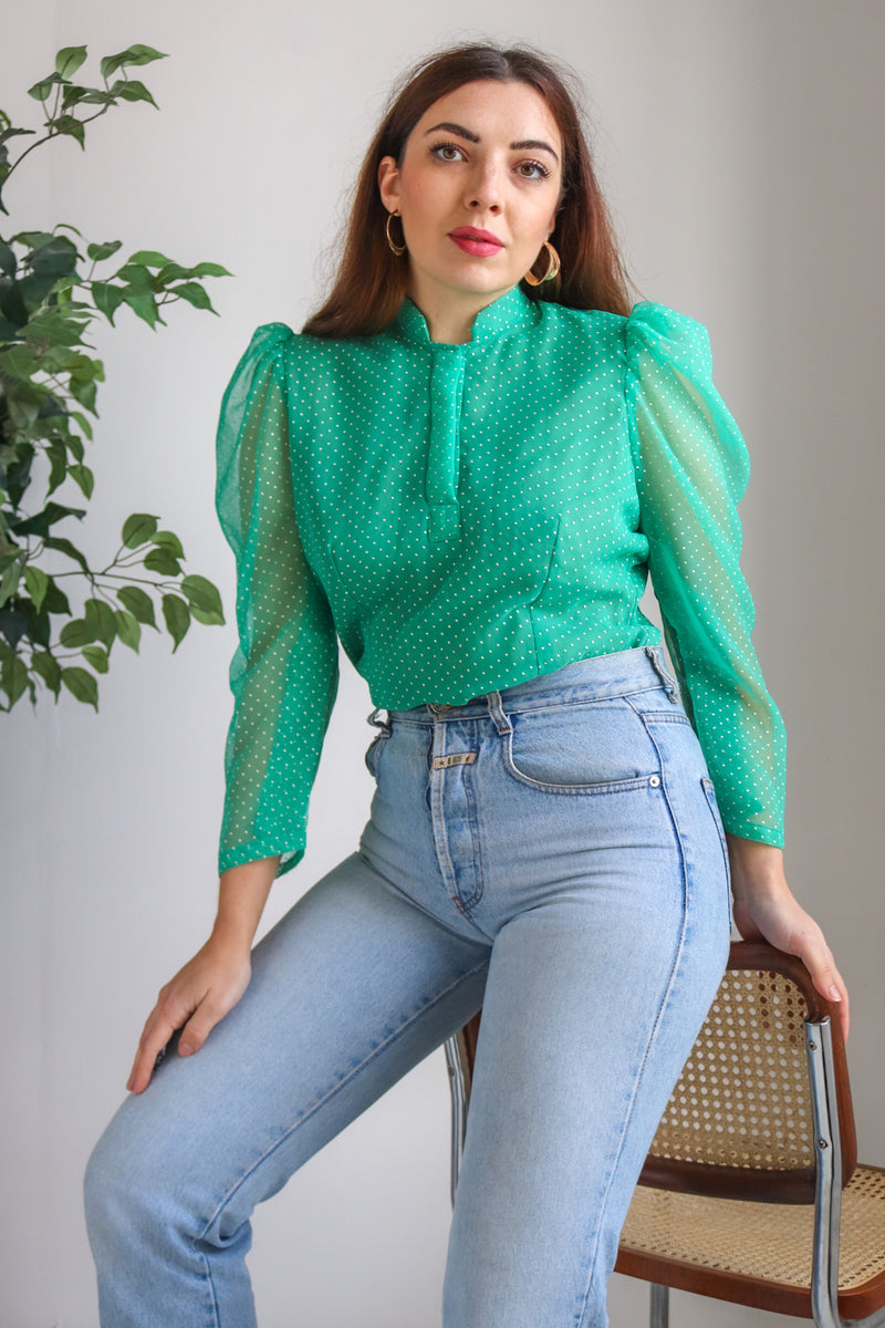 VintagePuff Sleeve Blouse in Green Polka Dot - Dirty Disco