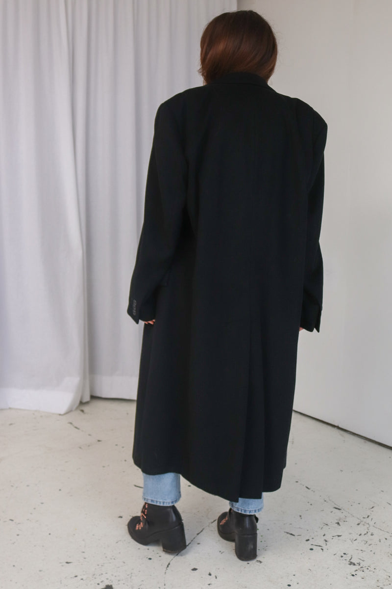 StrellsonCashmere Blend Wool Double Breasted Coat in Black - Dirty Disco