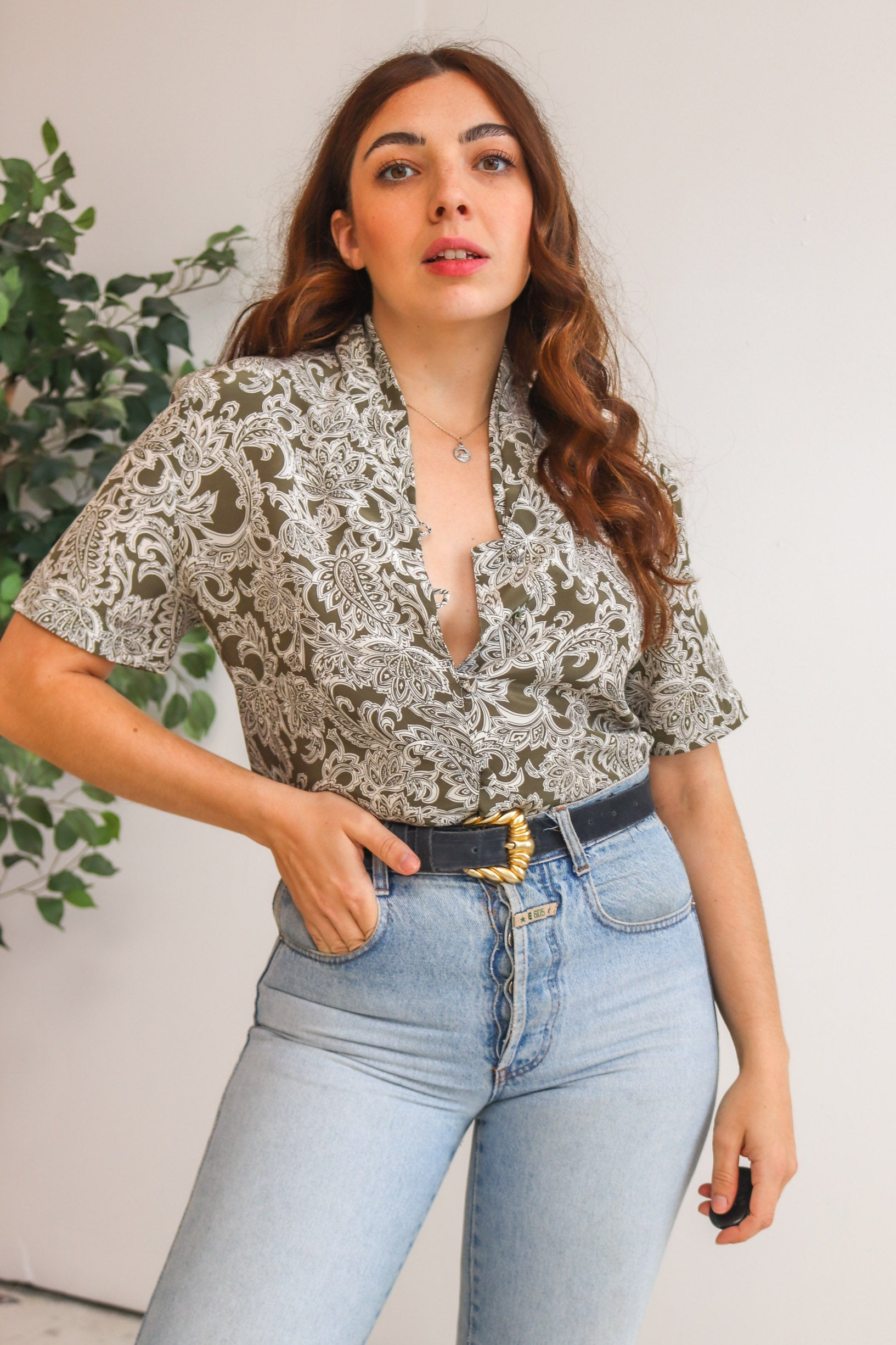 Crinkle Blouse in Black Floral Print