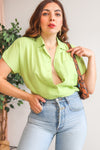 VintageShort Sleeve Blouse in Lime Green - Dirty Disco