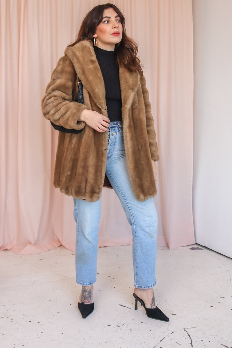 VintageFaux Fur Coat in Honey - Dirty Disco
