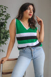 VintageSweater Vest in Green Stripe - M - Dirty Disco