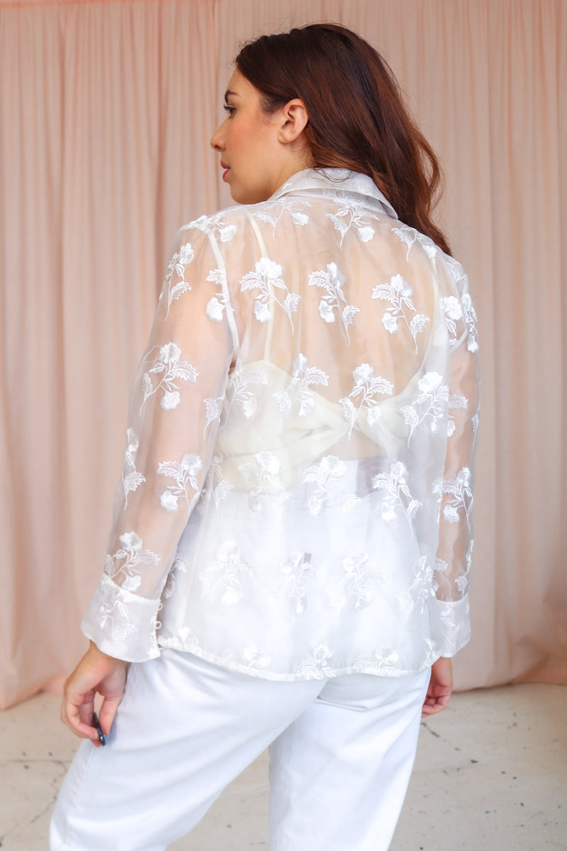 VintageOrganza Blouse in White - Dirty Disco