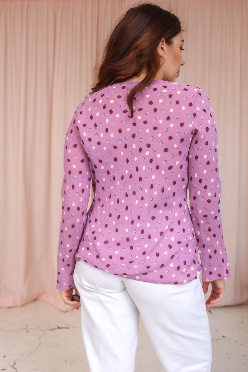 VintageCowl Neck Blouse in Lilac Polka Dot - Dirty Disco