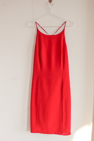 Midi Slip Dress in Fuschia