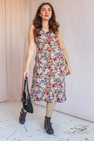 Midi Dress in White Floral Print