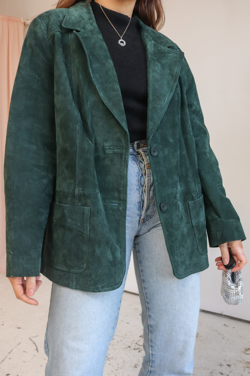 VintageSuede Blazer in Forest Green - L - Dirty Disco