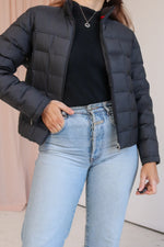 VintageQuilted Puffer Jacket in Black - Dirty Disco