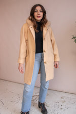VintageHooded Wool Coat in Peach - Dirty Disco