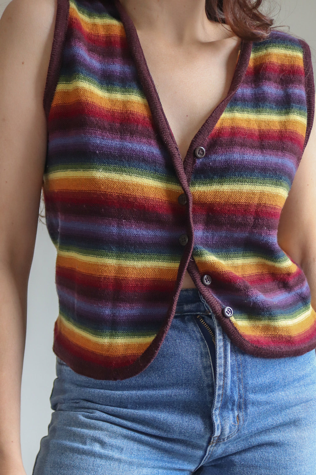 VintageV-Neck Jumper in Purple - S - Dirty Disco