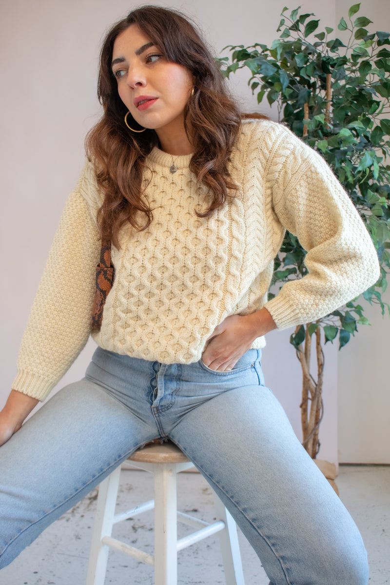 VintageJumper in Cream - UK 10 - Dirty Disco